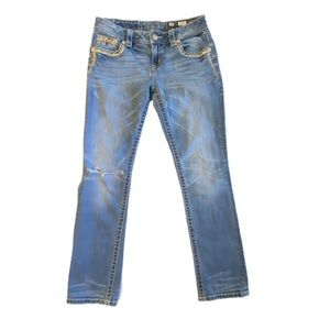 Miss Me Signature Cuffed Straight Distressed Jeans
